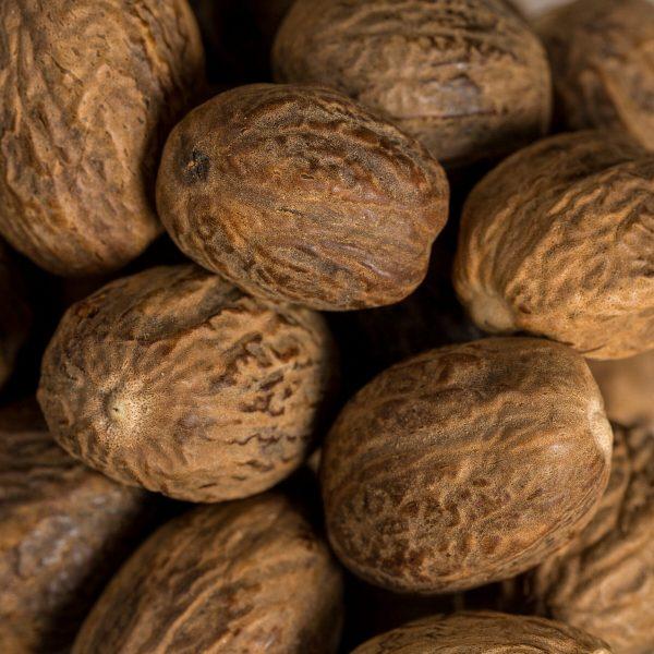 whole nutmegs closeup