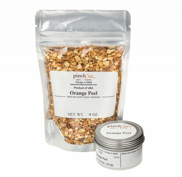 orange peel in bag and tin