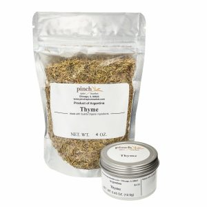natural thyme in four oz bag and small tin