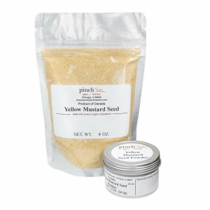 bag and tin of yellow mustard seed powder