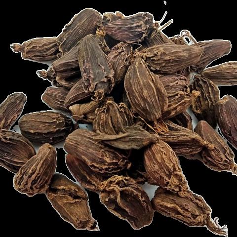 whole black cardamom pods