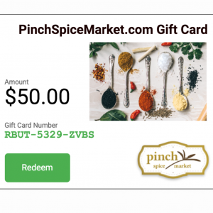 organic spice gift cards emailed