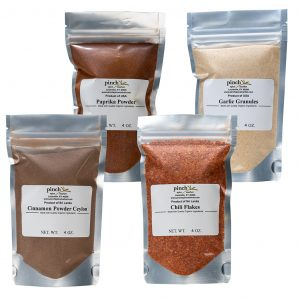 four pack paprika garlic cinnamon chili flakes