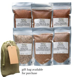 six barbecue blends and rubs gift bag available