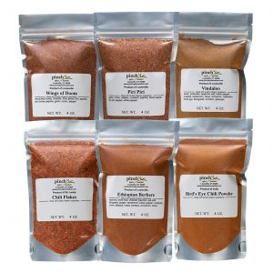 six pack of very hot spicy organic spice blends and chilies