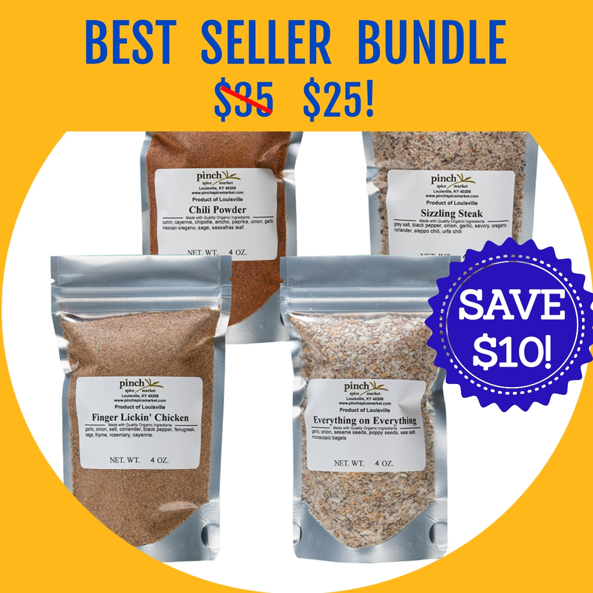 four best selling spice blends from Pinch on sale for Prime Day