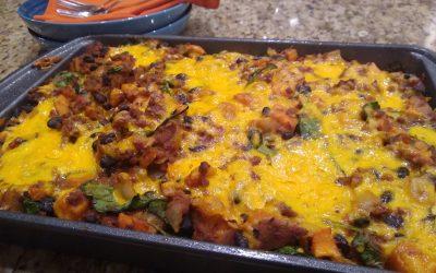 Honey Chipotle BBQ Enchilada Casserole (with Vegetarian Option)