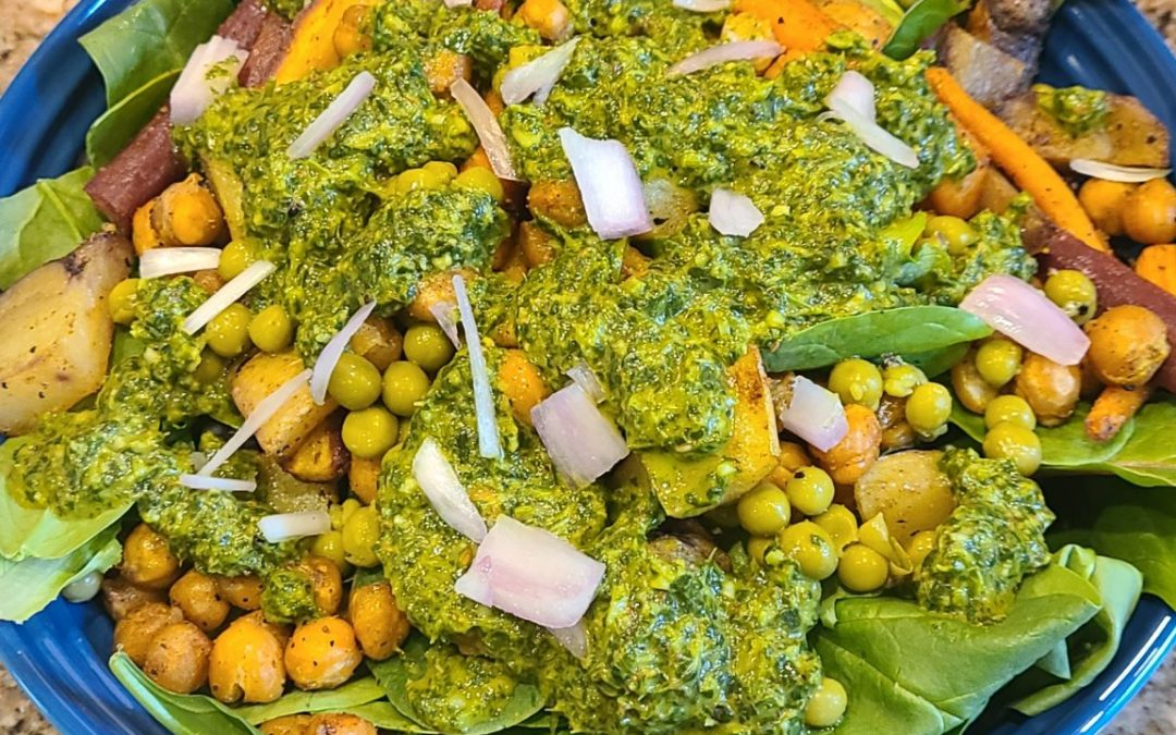 Samosa Indian Salad with Cilantro Curry Dressing