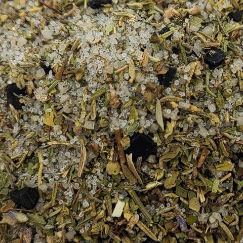 organic herbs and salt close up