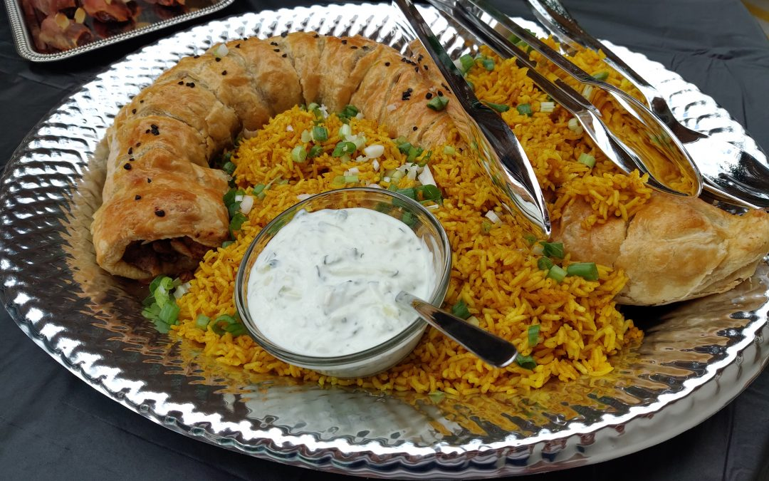 """The Spice Must Flow Cinnamon Chicken Roulade with Turmeric Rice """"Dunes"""" & Tzatziki Sauce"""